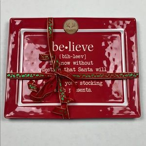 Other - NEW Christmas BELIEVE 100% Melamine Tray
